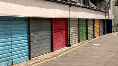 Colorful Garage Doors Borough Kensington, Chelsea, City of London, Notting Hill Stock Footage
