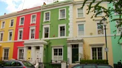 Colorful Town Homes Borough Kensington, Chelsea, City of London, Notting Hill Stock Footage