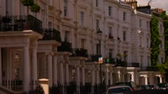 Stock Video Footage of Elegant Row Town Homes, Royal Borough Kensington, Chelsea, City of London -