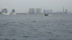 Boat in Tokyo Harbor Stock Footage