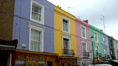 Colorful Row Houses, Royal Borough Kensington, Chelsea, City of London  - stock footage