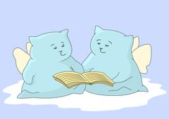 Angels-pillows with the book - stock illustration