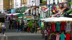 Portobello Road Market, Royal Borough Kensington, Chelsea, City of London -  Stock Footage