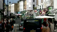 Stock Video Footage of Portobello Road Market, Royal Borough Kensington, Chelsea, City of London -