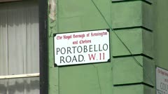 Portobello Road Market, Street Sign, City of London -  Stock Footage