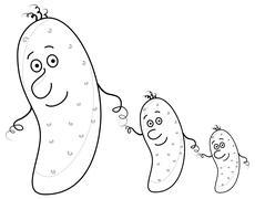 Cucumbers, family, contour Stock Illustration