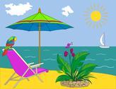 Resort beach Stock Illustration