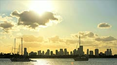 Yachts at sunset across Biscayne Bay Miami, USA, Time lapse - stock footage