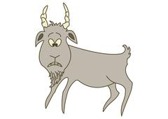 Sad grey goat Stock Illustration