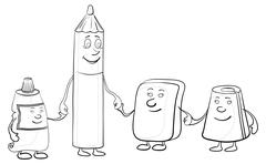Pencil and stationery children, contours Stock Illustration
