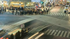 Busy time lapse of the Shibuya crossing in Tokyo Stock Footage