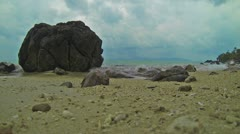 1920x1080 video - calm sea waves on beach with stones Stock Footage