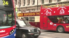 Traffic, Double Decker Buses, Black Cabs, Tourist Buses of London Stock Footage