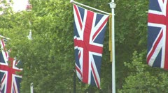 Flag poles, Bristish flag along the Mall City of London Westminster Stock Footage
