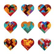 Puzzle hearts Stock Illustration