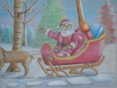 Santa claus riding his sleigh through snow Stock Illustration