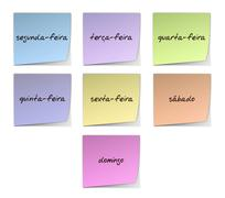 weekday notes in portuguese - stock illustration