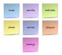 weekday notes in spanish - stock illustration