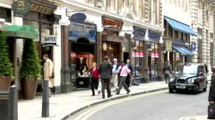 City of London Westminster St. James Street Gentlemen's Shops, London Taxi Stock Footage