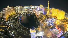 Illuminated view Bellagio fountains Las Vegas Strip, USA, Time Lapse Stock Footage