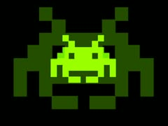 Stock Video Footage of Space Invaders Zoom Green