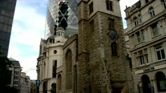 City of London Gherkin old and new Architecture Stock Footage