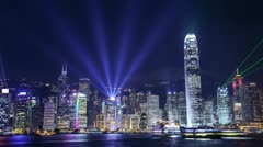 Stock Video Footage of Night scene of office buildings and transportation In hongkong , timelapse