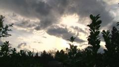 Sun Break Through Clouds Sunset Stock Footage
