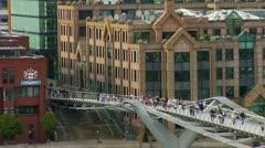 Millennium Bridge, City of London Thames  Stock Footage
