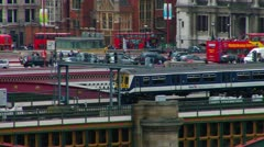Blackfriars Railway Bridge, The Thames, London, England Stock Footage