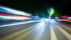 Traffic trails view from car, timelapse Stock Footage