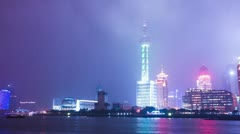 Skyline and illuminated office building in shanghai along the river, time lapse Stock Footage