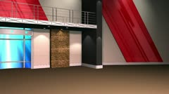 Virtual Set 12 - Newsroom Right Angle Studio Background Shot - No Desk - stock footage