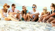Stock Video Footage of Young hipster people enjoying a beach party with guitar music