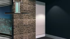 Stock Video Footage of City Set - Newsroom Studio Background Set
