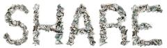 share - crimped 100$ bills - stock photo