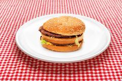 Hamburger on white plate Stock Photos