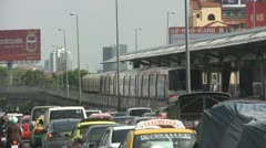 Slow Traffic With a Train Behind p103 Stock Footage