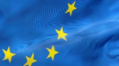Fragment of European Union flag in wind Stock Footage