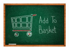Add to basket on green chalkboard Stock Photos