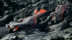Remorseless Flow Volcanic Lava Causing Barren Landscape Hawaii Stock Footage