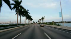 P.O.V. driving causeway highway Miami, USA Stock Footage