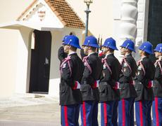 The military force performing the Change of Guard in Monaco - stock photo