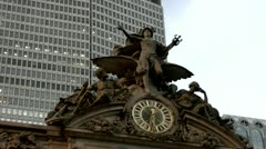 Grand Central Station Famous Clock on Terminal Facade 5 O:CLOCK Stock Footage
