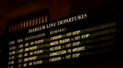 Grand Central Station Terminal Harlem Line Departure Schedule Stock Footage