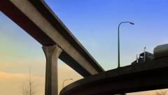 Tanker Truck Drives Overhead On Morning Highway Stock Footage