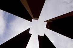 Abstract diminishing square and cloudy sky Stock Photos