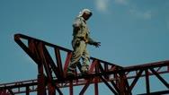 Steel Beam Walker Stock Footage
