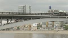 Railway bridge over the river. Stock Footage