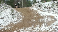 Motocross Rider on the race track Stock Footage
